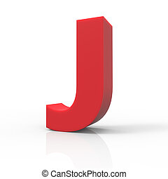 right red letter J - 3d right leaning red letter J, 3D...