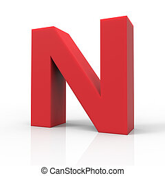 right red letter N - 3d right leaning red letter N, 3D...