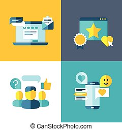 Customer service, client survey, feedback, rating concept background in flat style