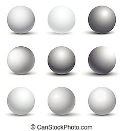 White 3D spheres with shadows vector set