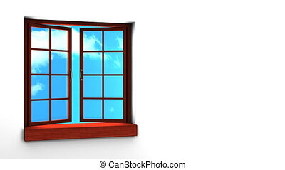 Wooden Window And Sky