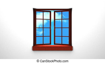 Wooden Window And Sky - 3DCG render Animation.