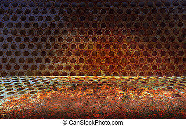 rusty metal plate grunge background with Holes.