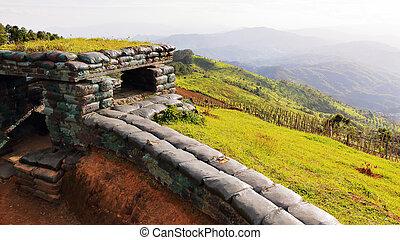 Sandbag bunker - Border war bunker on the Range