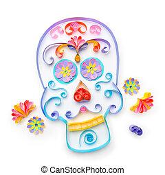 """Sugar skull made with paper strips for """"dia de los muertos""""..."""