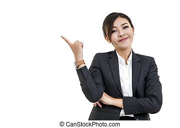 cheerful Asian woman thinking and looking up with high...