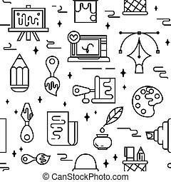 Art tools and materials seamless pattern