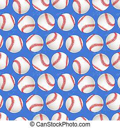 Baseball balls on blue background, seamless pattern - A lot...