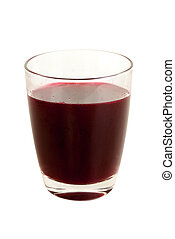 Fresh beet root fruit juice in drink glass isolated on white...
