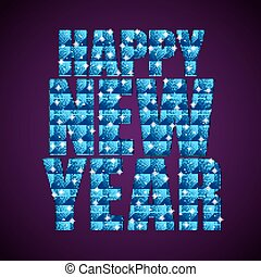Blue Sequins text Happy New Year. Stars. - Happy New Year...