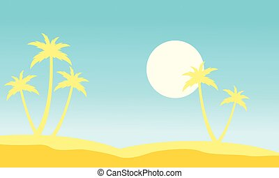 Slhouette of palm and moon stock collection vector