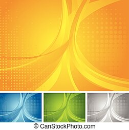 Abstract set of bright wavy backgrounds