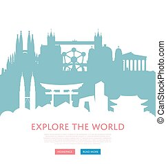Explore world concept with cityscape silhouettes