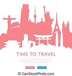 Time to travel concept with cityscape silhouettes