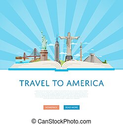 Travel to America poster with famous attractions.
