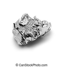 metal foil trash - crinkled aluminium foil over white