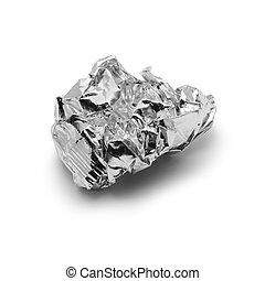 metal foil trash - crinkled aluminium foil over white