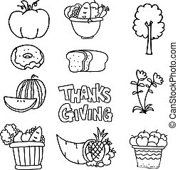 Thanksgiving element with hand draw on doodles