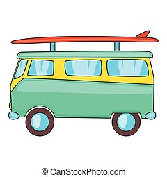 Bus with surfboard icon, cartoon style - Bus with surfboard...