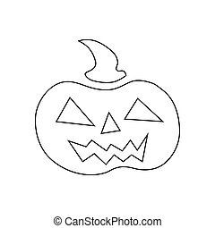 Pumpkin for halloween icon, outline style - Pumpkin for...