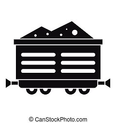 Train waggon with coal icon, simple style - Train waggon...