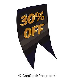 Tag thirty percent discount icon, cartoon style