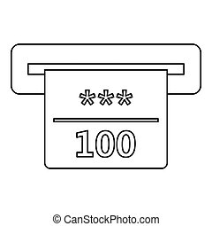 Winning cheque in casino icon, outline style - Winning...