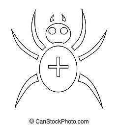 Spider icon, outline style - Spider icon. Outline...