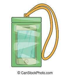 Waterproof phone case icon, cartoon style - Waterproof phone...