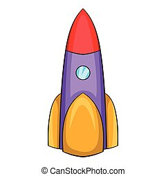 Ballistic rocket icon, cartoon style - Ballistic rocket...