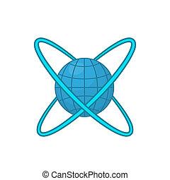 Earth around orbits icon, cartoon style - Earth around...