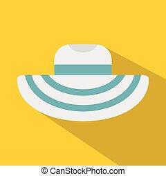 Women beach hat icon, flat style - Women beach hat icon....