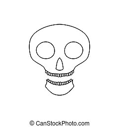 Halloween skull icon, outline style