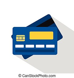 Credit card icon, flat style - Credit card icon. Flat...