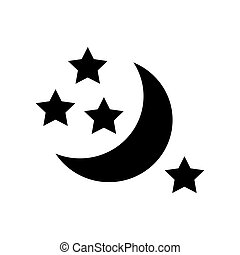Half moon and stars icon, simple style - Half moon and stars...