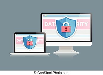Concept is data security . Shield on Computer Desktop or Labtop protect sensitive data. Internet security. Vector Illustration.or
