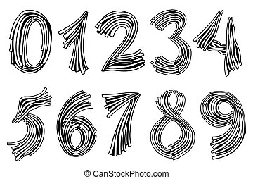 Numbers set in hand drawn - Numbers set of pasta or grass....