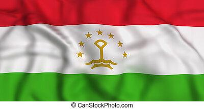 Republic of Tajikistan flag - 3d rendering of Republic of...