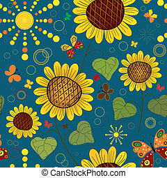 Seamless floral dark blue summer pattern with sunflowers,...