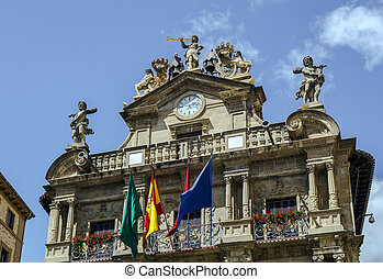 Town hall of Pamplona, Spain - Town Hall of Pamplona,...