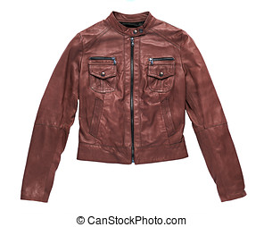 Isolated red brown leather jacket with closed front zipper...