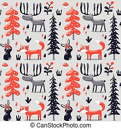 New seamless cute winter christmas pattern made with fox, rabbit, mushroom, bushes, plants, snow, tree