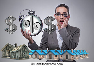 Businesswoman suprised about high interest mortgage rates