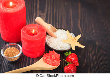 Strawberry body scrub with brown sugar and sea salt on the...