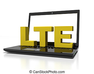 symbol LTE on a laptop computer, high-speed wireless communication concept, 3d render