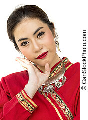Thai women with traditional Thai lanna suit in Studio