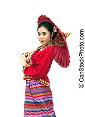 Thai women with traditional Thai lanna suit isolate white...