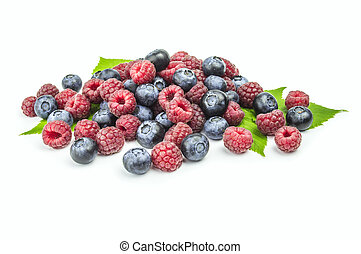 blueberries , raspberries on white background