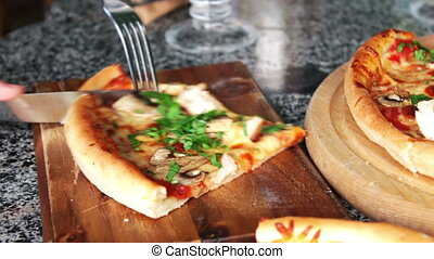 Hot pizza with steam - Freshly baked pizza fresh from the...