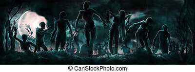 Banner with zombies silhouettes - Night banner with a group...